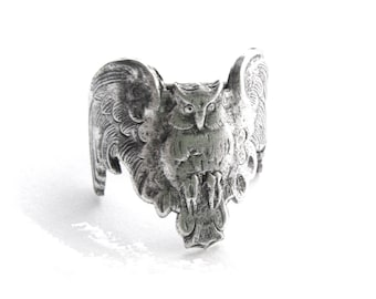 ANTIQUE SILVER Ring ~ Gothic Owl Ring ~ Adjustable Statement Ring (RC-2)