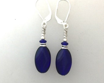 Cobalt Blue Earrings with Silver Lever Backs
