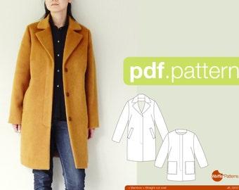 Patron PDF femmes manteau de coupe droite - bambou - (taille 34-48)