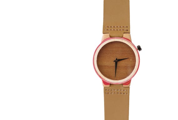7PLIS watch #43 Recycled SKATEBOARD #madeinfrance yellow brown green wood