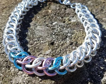 Trans Pride and Silver Half Persian Weave Chainmaille Bracelet