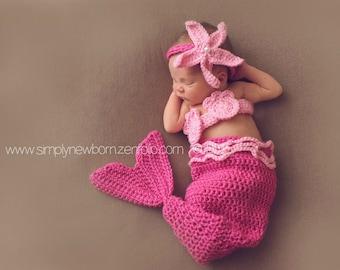 Pink Newborn Mermaid Tail Photo Prop Costume, 0-3 Month Baby Girl Mermaid Halloween Costume