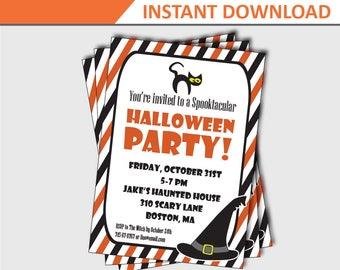Halloween Cat Invitation - Halloween Invitation for Kids - Halloween Party Invitation - Halloween Invitation Printable (Instant Download)
