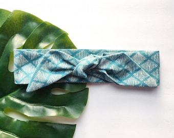 Teal Diamond - Headband Headscarf Neckscarf Adult
