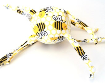 Soft Baby Toy - ball with strings - Bumblebees - Yellow and black