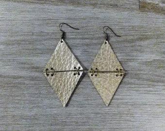 Large Diamond Shape/Leather/Earrings/Champagne Gold/Metallic/Jewelry/Geometric/Metallic/Boho/Dangle/Handmade/Style/Fashion/Unique/Women/Gift