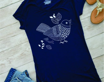Lace bird T-shirt, round neck