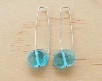 Blue earrings. Bright blue earrings. Long earrings. Long blue earrings. Upcycled.Recycled glass.Gin lovers.Gift for girlfriend.Gift for her.