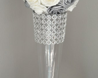 SILVER And WHITE Flower Ball, Wedding CENTERPIECE, kissing ball, pomander. Real Touch Roses. Flower Girl. Pick Your Size