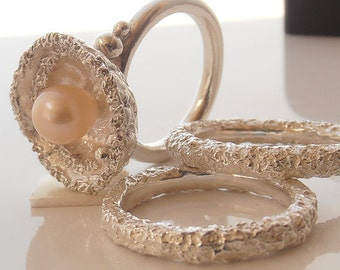 Pearl Engagement Ring With Matching Wedding Bands Set.
