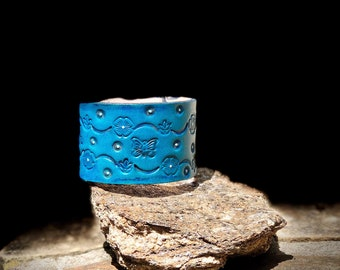 Turquoise Floral leather cuff