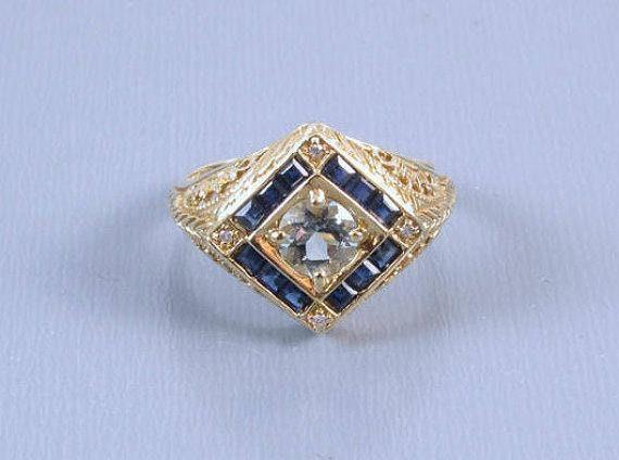 Modern estate 14k gold filigree blue sapphire aquamarine and diamond halo ring, size 8