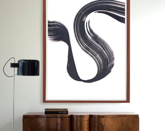 Modern abstract ink art painting- Way, wind, minimal abstract, movement, energy, large black and white abstract ink art, large art, large