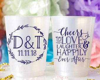 Monogram Hard Plastic Cup - Cheers to Love - Custom Wedding Cups - Bridal Shower Cups - Rustic Wedding Favor - Plastic Party Cup