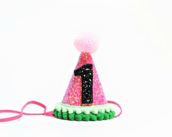 Watermelon Birthday Party Hat || One In A Melon Party || Girl Party Hat || Little Blue Olive ||1st Birthday Party Hat