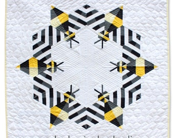 Bee Mini Quilt. Pattern Only. Bee Quilt. Modern Quilt. Beekeeper Gift. Home Decor. Step-by-Step Instructions.  PDF. Instant Download.