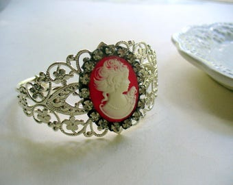 Valentine's Day, Red White Cameo Cuff Bracelet, Red and White, Cameo Jewelry, Metal Filigree Cuff, Shinny Silver, Rhinestone, Gift for Her