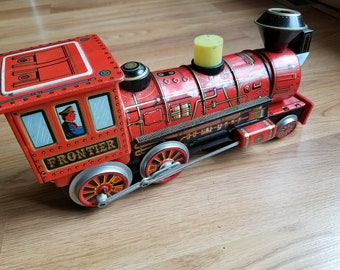 Rare Vintage Battery Operated Mystery Action CRAGSTON FRONTIER LOCOMOTIVE Tin Litho Train