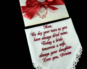 Customized Wedding gift for mom from daughter, Mother of the bride gift from Bride, Embroidery handkerchief for Mom, Inspirational gifts