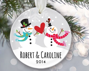 Engagement Christmas Gift Personalized Christmas Ornament Just Engaged Gift Just Married Christmas Ornament Snowman couple Name & Date OR179