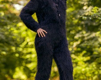 Black hand knitted fuzzy mohair bodysuit warm catsuit Handgestrickte Overall on sale - S M size