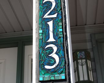Vertical Narrow 3 Digit  Mosaic House Number on Slate 4x15 inches