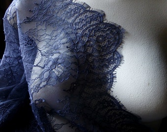 SAMPLE Chantilly Lace Fabric in Navy Blue for Bridal Gowns, Mantilla Veils, Garments CH 14
