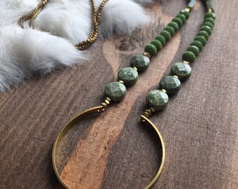 Serpentine, Green Jade, Lizard Skin Jasper Necklace