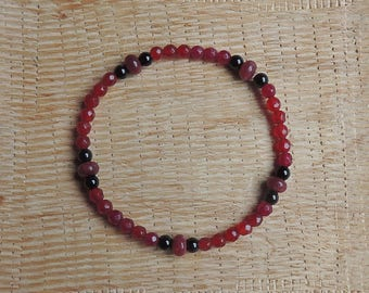 Agate Beads Bracelet Burgundy Red and black and Red jade