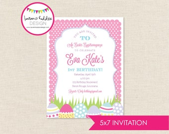 Easter Eggstravaganza Birthday Invitation, Easter Birthday, Easter Printables, Easter Birthday Decorations, Lauren Haddox Designs