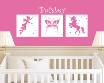 Fairy Wall Vinyl Kids Decals - Fairies - Kids Decals Vinyl Decal - Girls Name Decal - Personalized Decal - Wall Stickers  - Fairy Nursery