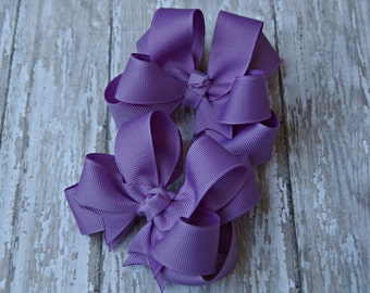"""Girls Hair Bows Dark Orchid Boutique 3"""" Double Layer Hairbows Set of 2 Pigtail Bows"""