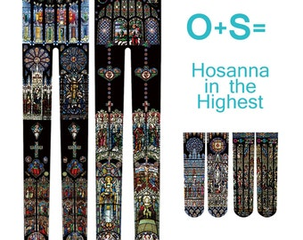 O+S=Hosanna in the Highest Double-sided Glass Staining Art church harajuku  Printed Tights+Socks worthy package FREE SHIPPING WORLDWIDE