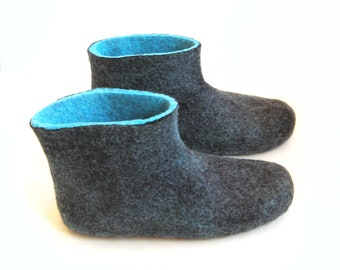 Men Felted Slippers Winter Wool Boots Turquoise Blue Black, Rubber Soles, Winter Slippers Clog Boots, Christmas In July, 7 Custom Colors
