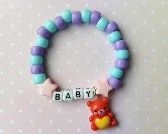 Pastel Blue & Purple Pink Star Baby Bear Singular Kandi Bracelet - Kawaii Lolita Decora Fairy Kei Pastel Goth Harajuku Fashion Cute JFashion