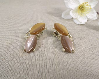 Beautiful Vintage Gold Tone Pair Of Brown Thermoset Clip On Earrings  DL# 4721