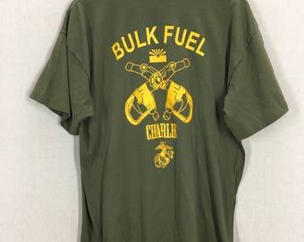 Vintage USMC Marine Corp Bulk Fuel Company Charlie Green 50/50 T-Shirt Sz XL