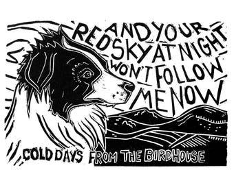 Cold Days from the Birdhouse (original Linocut Print)