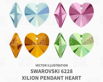 Vector Illustration of Swarovski 6228 Xilion Pendant Heart - Digital Clipart