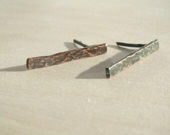 Nature Stud earrings, post earrings, copper stud earrings, gold earrings, geometrical stud earrings, tiny earrings, small