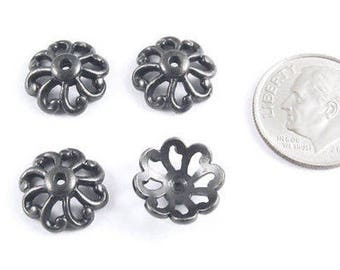 TierraCast Pewter Bead Caps-Black Open Scalloped 12mm (4)