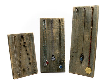 Rustic Necklace Display Stand - 3 sizes available - Barn Wood / Craft Show Boutique Retail Jewelry Rack Reclaimed Wood FREE US SHIPPING