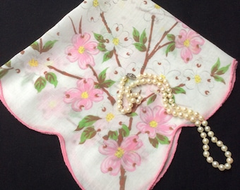 Vintage Floral Handkerchief, Pink and White Dogwood Hankerchief, 1950's Flower Hankie, Hanky