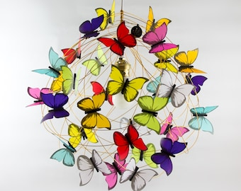 Ceiling lamp rainbow colors-Whimsical Lighting design Lamp Shade Butterfly Fairy Chandelier Lighting Fixture Ceiling Lamp