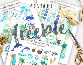Monthly Stickers, JunePlanner Stickers, Printable Stickers, Summer planner stickers, Beach Planner stickers, Surf planner stickers, Monthly