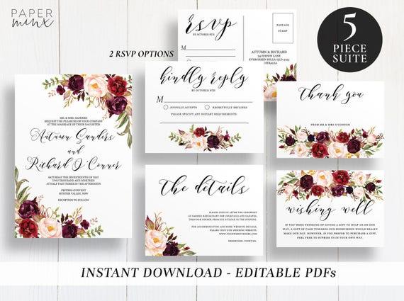 Editable Marsala Wedding Suite Template Template Printable