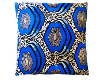 Blue Apple African Print Cushion Throw Pillow Cover 16x16 or 18x18 inches