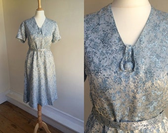 1940s Blue Brocade Belted Dress * Size Small