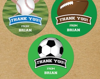 Sports Birthday Thank You Stickers, Baseball Birthday Party Favors, Football Birthday Favors, Soccer Birthday Party Favor Stickers