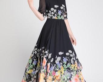 Floral chiffon dress, chiffon dress, black floral dress, long chiffon dress, woman chiffon dress, summer dress, woman dress, prom dress 1895